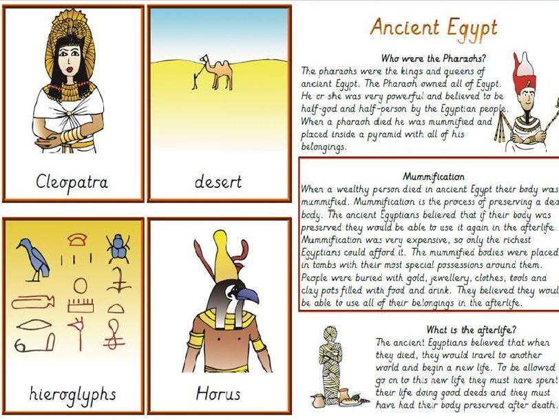 KS2 Ancient Egypt, Reading Task and comprehensions with Topic Vocabulary cards