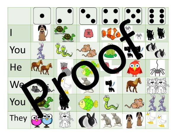 Pets and colours dice game