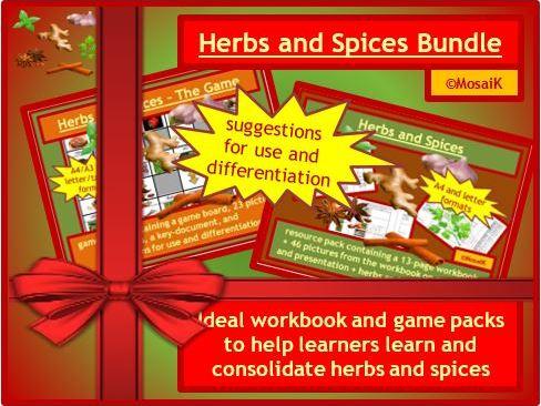 Herbs Spices workbook game BUNDLE
