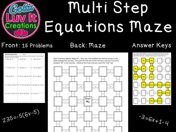 Printables. Multi Operational Mathematical Maze. Jigglist ...