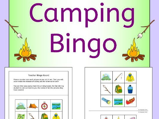 Camping bingo for summer class topic or ESL EAL EFL MFL