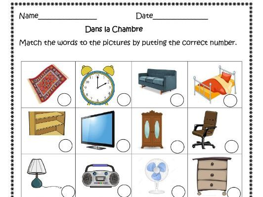 Dans ma Chambre (French bedroom) worksheet for distance learning.