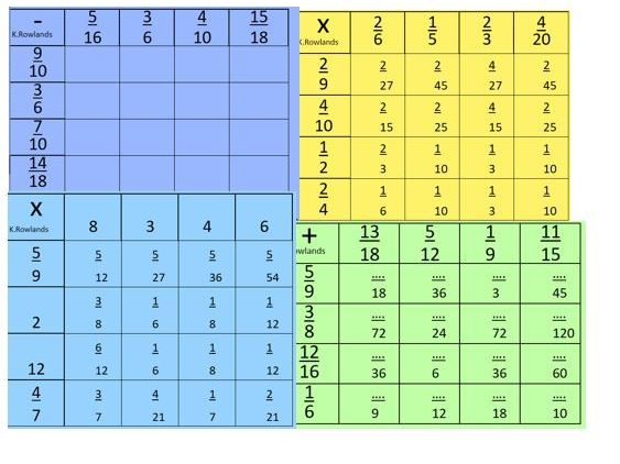 KS3 KS4 15 page FREE Fraction Grid Worksheet, Four Operations, Solutions, Differentiation