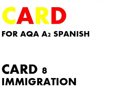 SPEAKING CARD 8 for AQA A2 SPANISH