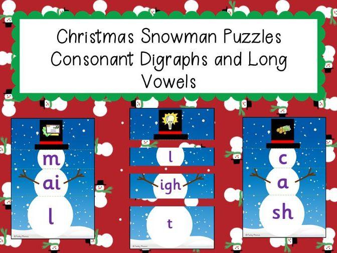Phonics: Christmas Snowman Puzzles - Consonant digraphs and long vowels
