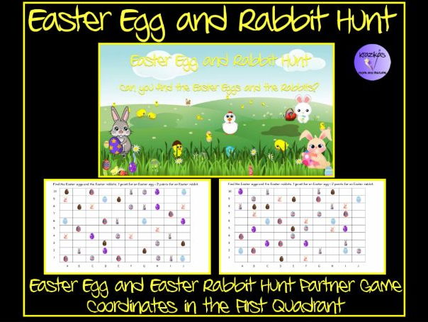 Easter: Easter Egg and Easter Rabbit Hunt - Coordinates in the First Quadrant Partner Game