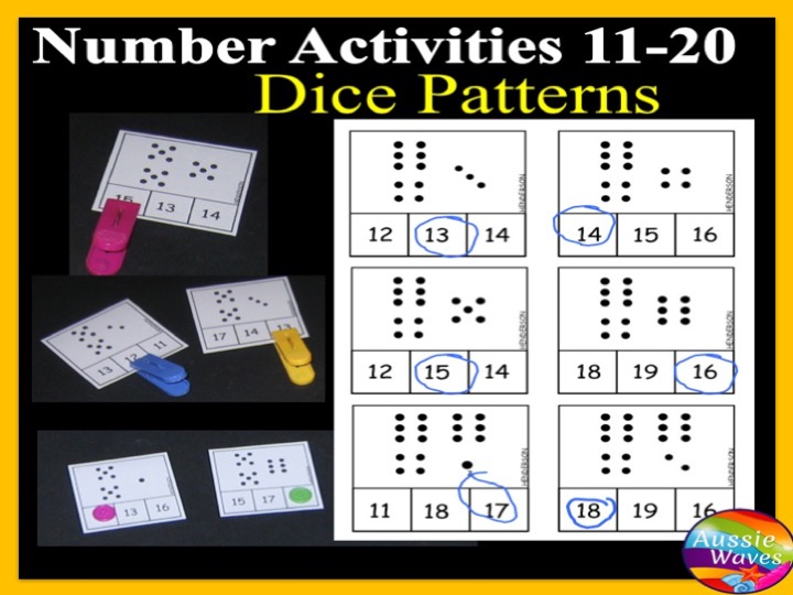 Printable Kinder Maths Centre Activity COUNTING NUMBERS 11-20 DICE PATTERNS