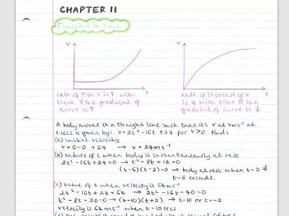 AS Maths Mechanics notes- Chapter 11 (Variable acceleration)