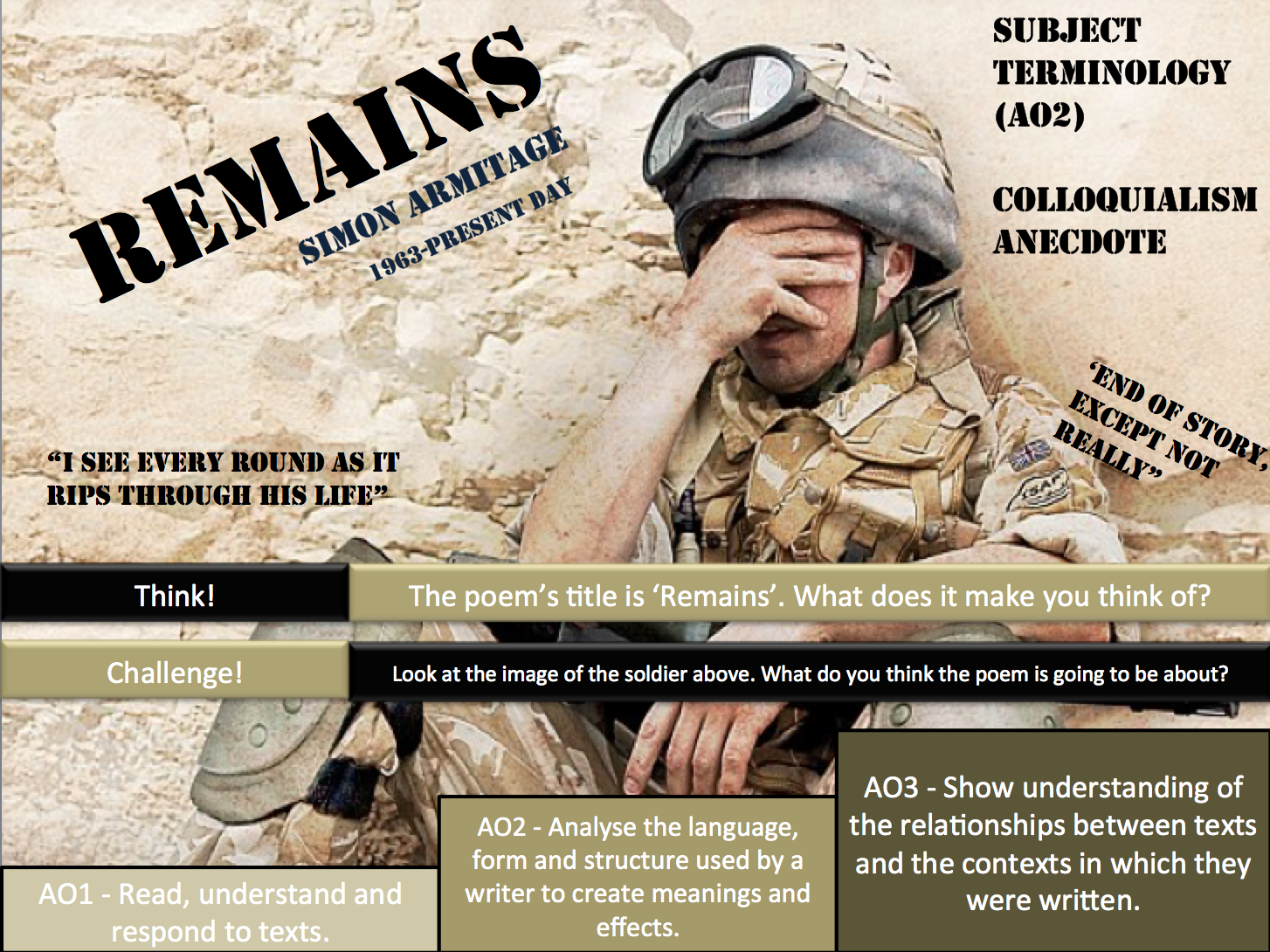 AQA Poetry - Remains/Bayonet Charge/ War Photographer
