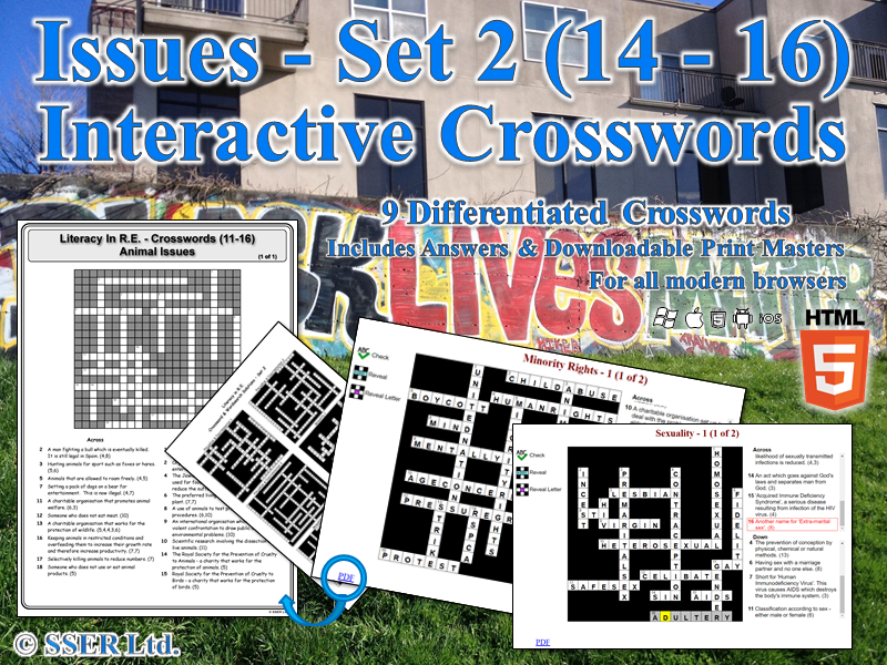 Literacy In Moral & Ethical Issues (Set 2) – Interactive Crosswords (HTML5)