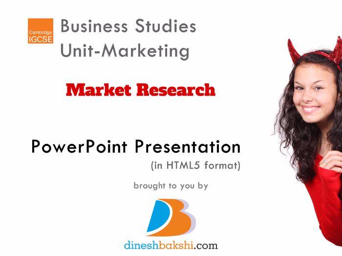 Market Research - IGCSE Business Studies