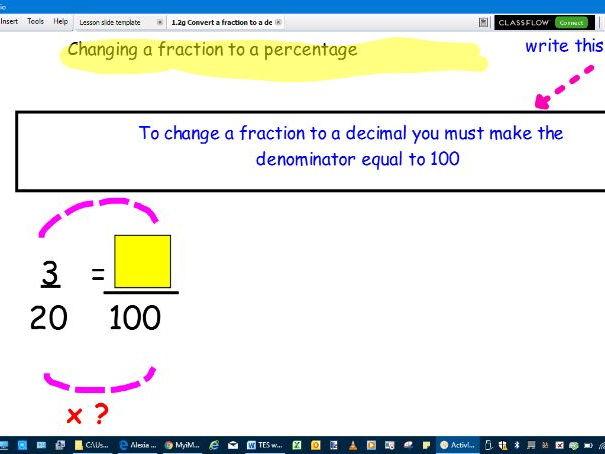 Convert between fractions, decimals and percentages-full lesson
