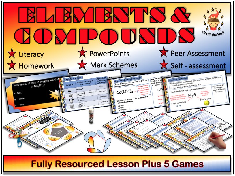 Chemistry - Elements and Compounds - Fully Resourced Lesson Plus 5 Game Compendium