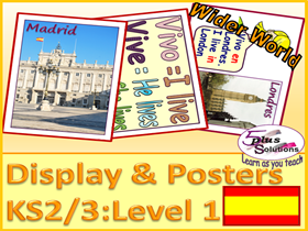 PRIMARY SPANISH POSTERS/FLASHCARDS (KS2/3): where you live/are from; nationality; UK+France&Spain.