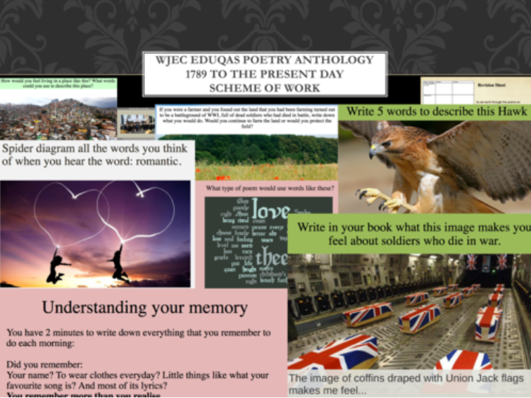 Full Scheme of Work for WJEC Eduqas GCSE English Literature Poetry Anthology 1789 to Present Day C1B