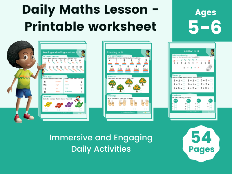 Daily Maths Lesson -  Printable Worksheet Over 50 Pages