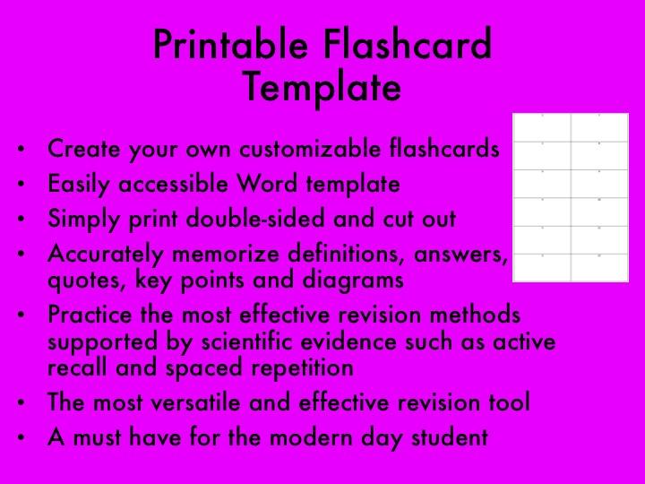 Printable Flashcard Template 2019