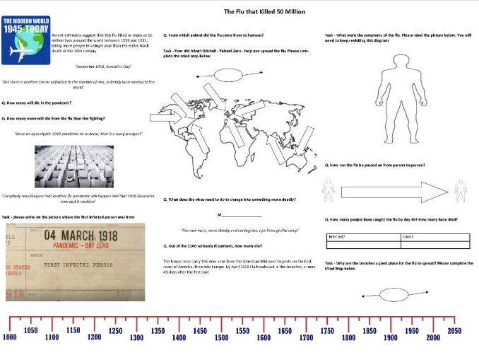 The Flu that killed Fifty Million - Worksheet to support the BBC Documentary