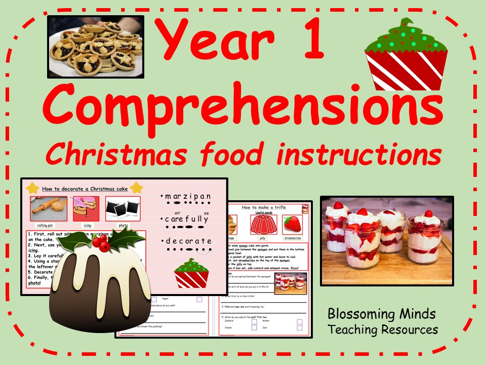 Year 1 comprehensions - How to make Christmas food
