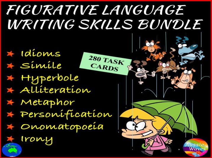 FIGURATIVE LANGUAGE BUNDLE Writing Posters & 280 Task Cards for Literacy Centres