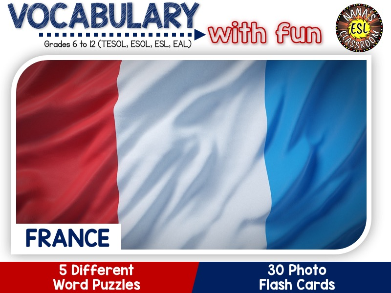 France: Word Puzzles and Photo Flash Cards