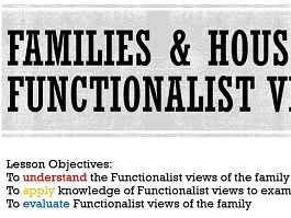 AQA Sociology Families & Households: Functionalist Perspectives A Level