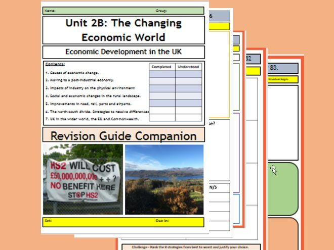GCSE AQA  9-1: The Changing Economic World - The UK, Flipped Learning Revision Booklet.