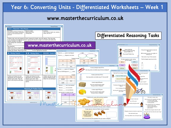 Year 6 - Spring Block - Week 1- Convert Units Differentiated Worksheets -White Rose Style