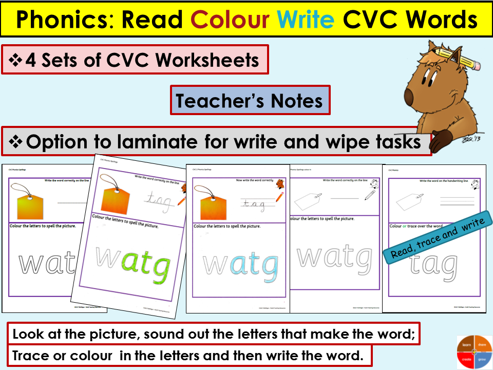 Phonics: CVC/Onset Rime Worksheets, Activities, Read, Colour, Trace, Write, Teacher Notes
