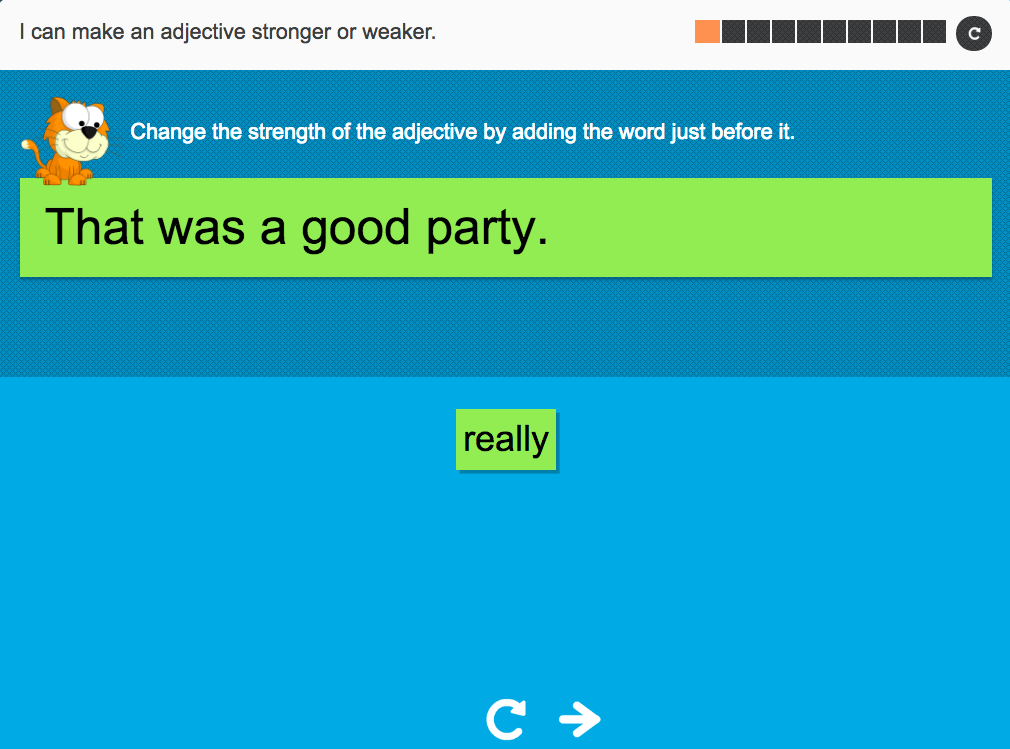 I can make an adjective stronger or weaker - Interactive Activity - Year 3 Spag