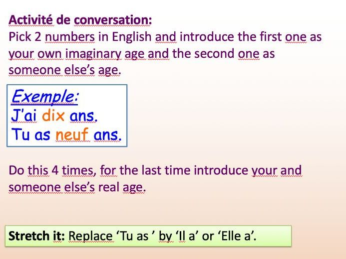 PPT French: Being able to count to 13 and say your age.