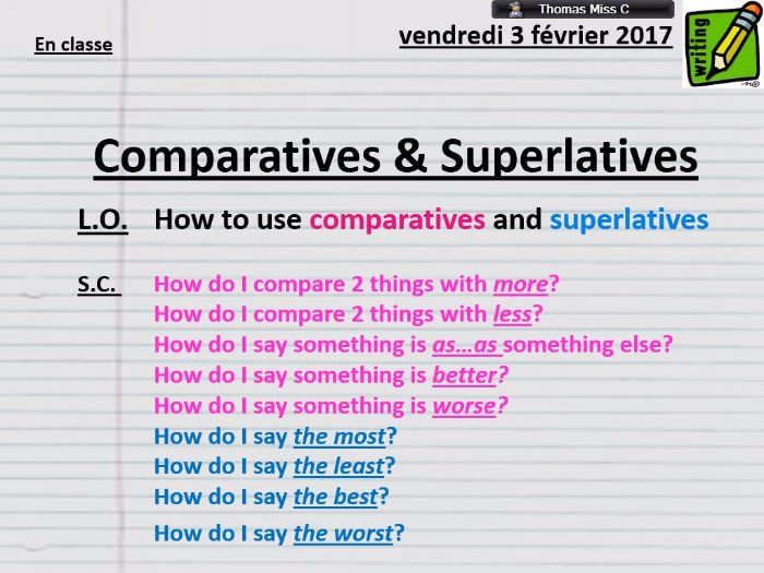 GRAMMAR - Comparatives and Superlatives
