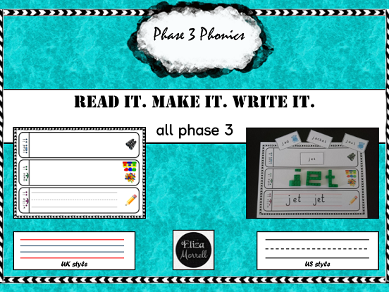 Phase 3 All Sounds Read it Make it Write it + 540 Word Cards/Flashcards