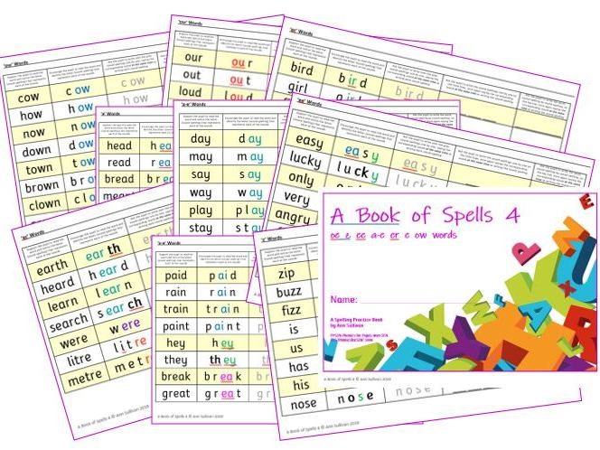 Book of Spells 4 - Spelling Practice Books - oe  z  ee  a-e  er  e  ow