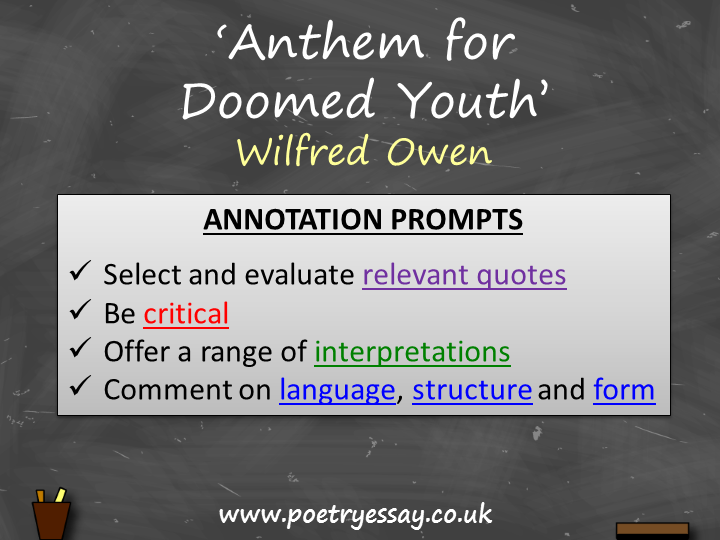 Wilfred Owen – 'Anthem for Doomed Youth' – Annotation / Planning Table / Questions / Booklet