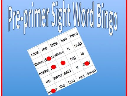 Sight Word Bingo - Pre-primer word list