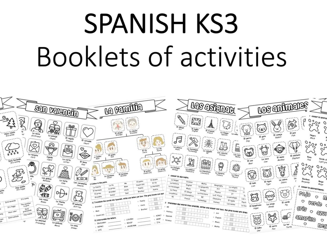 Spanish KS3 booklets - various topics
