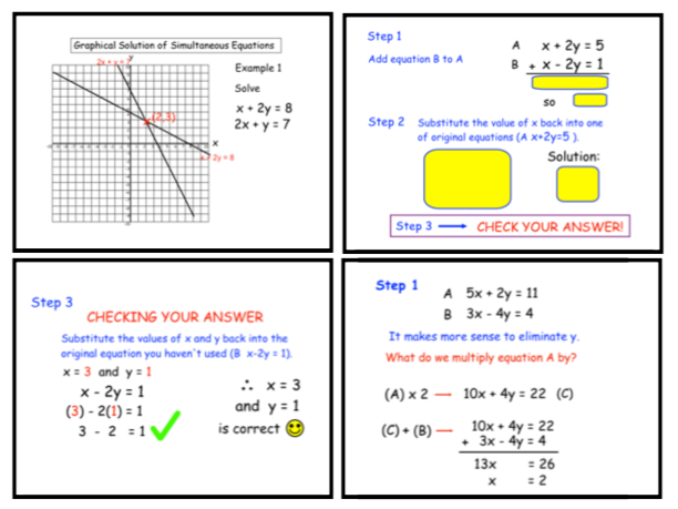 Solving Simultaneous Equations Graphically and by Elimination (notebook)