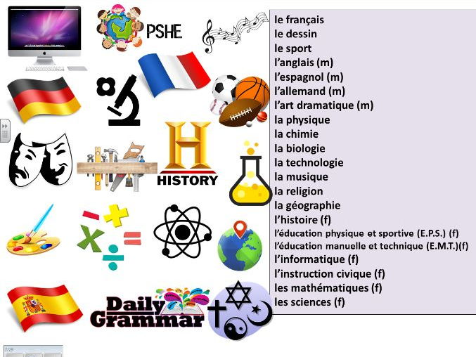 french introduction to school subjects by mrsjlea