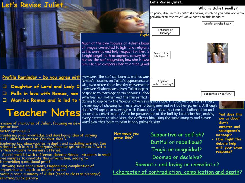 Juliet Revision lesson - Romeo & Juliet