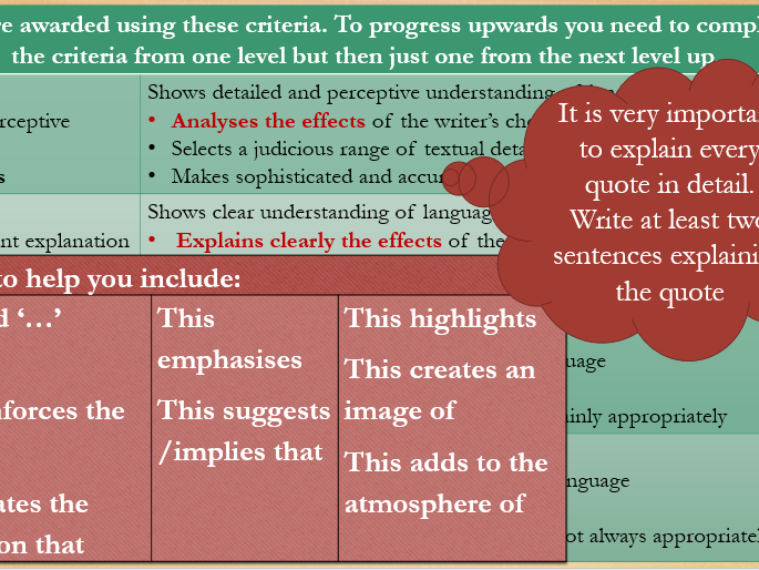 Revision tips and sentence starters for Papers 1 and 2 AQA new English Language GCSE.