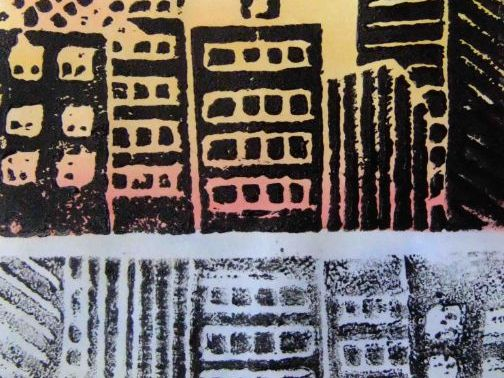 City at sunset with reflections printmaking project.