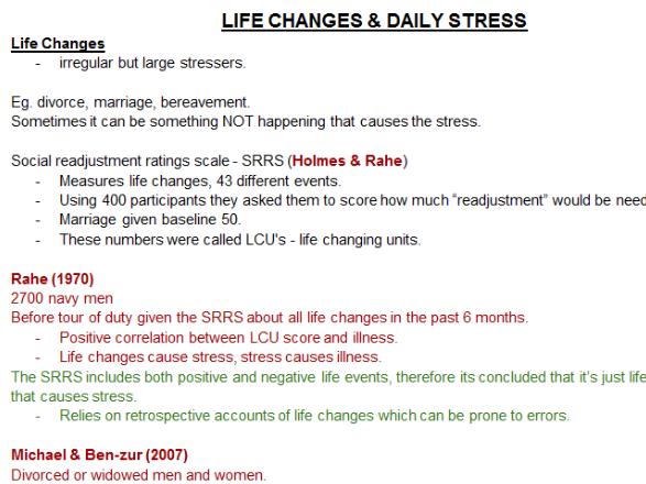 PSYCHOLOGY STRESS REVISION NOTES