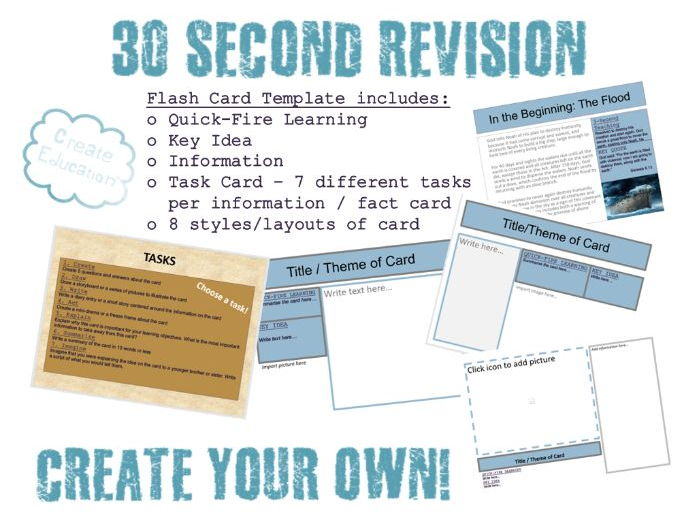 Quick Fire Revision Cards Template for Any Topic!