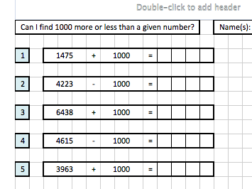 find 1000 more or less than a given number