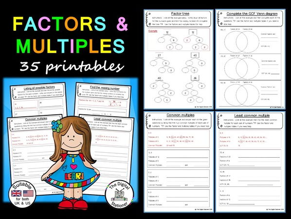 Factors and Multiples Pack (suitable UK/US) – 35 printables