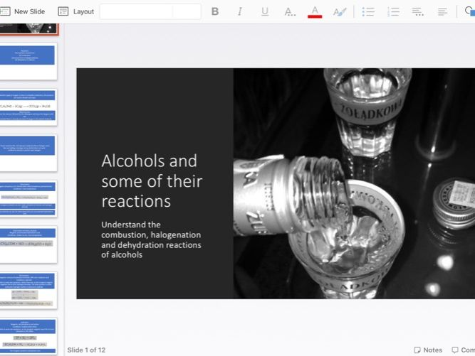 Combustion, halogenation and dehydration of alcohols powerpoint
