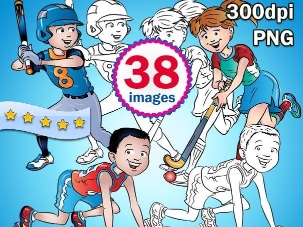 Sports Kids Global 38 Clip-arts - High-res, Color + Black & White