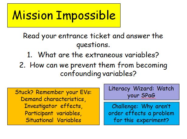 Edexcel Psychology (9-1) GCSE New Spec Unit 1 Lesson 2 - Eliminating Extraneous Variables