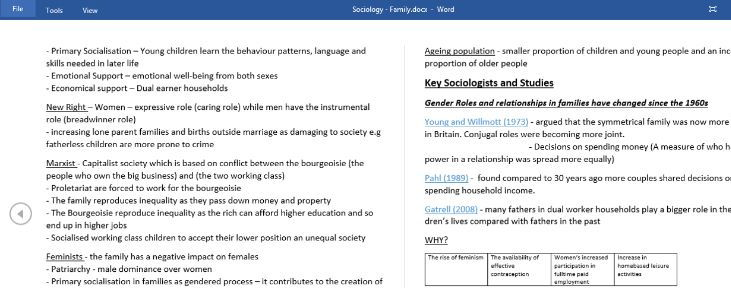GCSE Sociology - Family A* Standard extremely detailed Revison Notes
